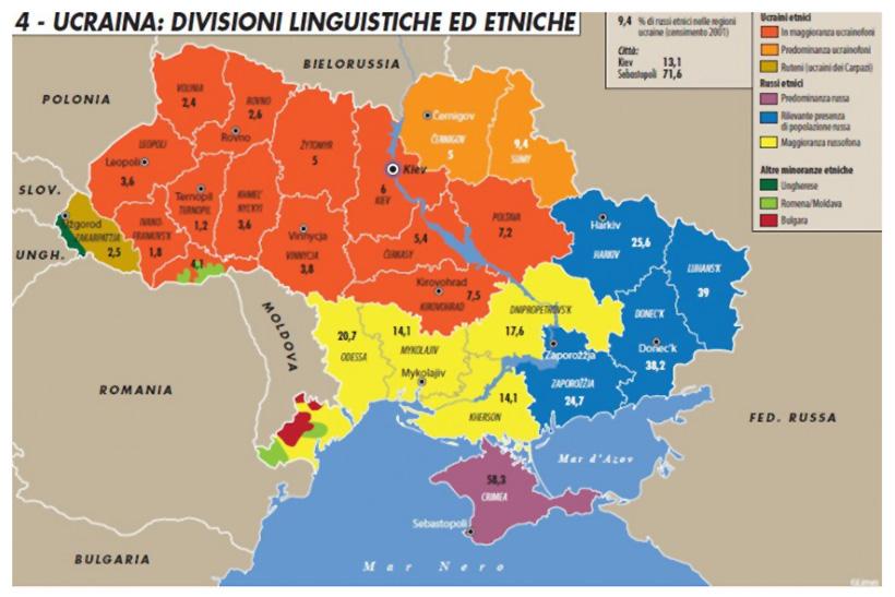 ucraina divisioni linguistiche ed etniche